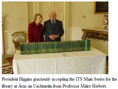 The President of Ireland, His Excellency Michael D. Higgins, received the Council of the Irish Texts Society